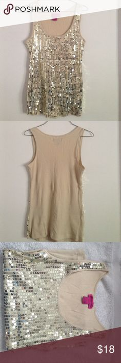 NWOT Awesome Gold-Sequin Tank Top, Size Large 🎉10% Off Bundles of 2 or More!🎉 NWOT never worn sexy gold-sequined tank top, size Large, perfect condition. Tank is ribbed 100% cotton and sequins are sewn into the fabric on the front. Dress it up or down and look super-hot either way! You will definitely stand out in this top! Tops Tank Tops