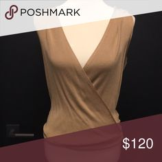 Intermix bodysuit Gold knit bodysuit. Never worn. Thick beautiful material. Faux wrap detail in front and back. Intermix Tops Tank Tops