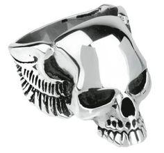 """#Anello """"Eagleskull"""" finemente lavorato in acciaio inossidabile lucido con teschio alato sul davanti. l.: 25 mm. Disponibile in diverse misure."""
