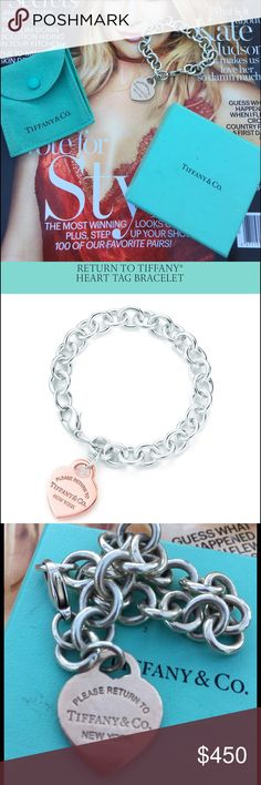 Tiffany &Co. return to Tiffany heart tag bracelet. Beautiful Tiffany and company heart tag bracelet. The bracelet is sterling and the heart is what they call Rubedo. Been worn a little and the back of the heart is engraved with a name. So please take note to this if interested in purchasing. It is authentic. I have a dust bag but no box.  So Rubedo metal heart tag on sterling silver bracelet. 7.5 Tiffany & Co. Jewelry Bracelets