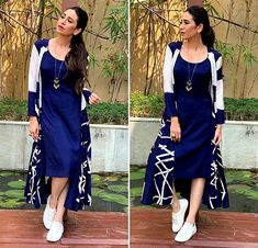 Dresses - StyleDiaries Shilpa smoulders in a red sari Rediff com Get Ahead Stylish Dresses, Simple Dresses, Casual Dresses, Fashion Dresses, Casual Indian Fashion, Casual Frocks, Mode Kimono, Shrug For Dresses, Mode Jeans