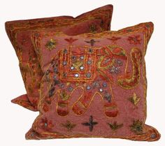 SKU NO: (Elephant cushion_5) 2 Red Pink Handcrafted Sequin Embroidery Ethnic Indian Elephant Design Throws Pillow Cases Toss Cushion Covers by Krishna Mart India, http://www.amazon.com/dp/B00BTAL5DQ/ref=cm_sw_r_pi_dp_zlkhsb10GV1P9