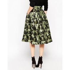 ASOS Full Midi Skirt in Camouflage Jacquard (£60) ❤ liked on Polyvore featuring skirts, high waisted pleated skirt, white pleated skirt, high waisted skirts, asos and high-waist skirt