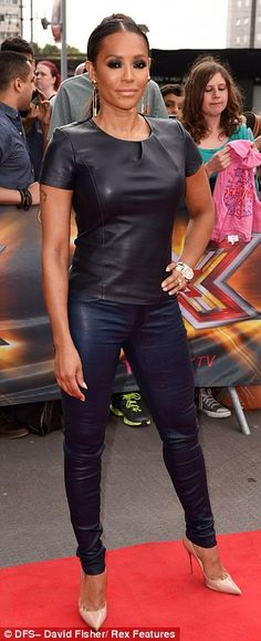 Mel B parades her curves in tight leather outfit... while Cheryl Cole opts for understated monochrome ensemble as X Factor auditions continue | Mail Online
