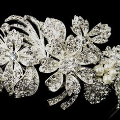 Ivory Pearl and Crystal Side Accent Wedding Headband