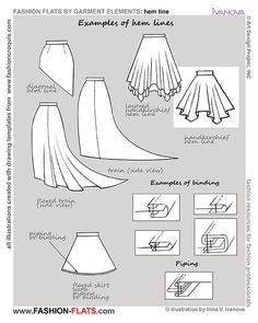 examples hem lines - Good site for types of fashion styles and how to draw them.