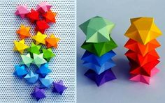 "Decorative Stars Paper Models - Templates And Tutorial - by Minieco - == - These are not those ""Origami Lucky Stars"" that you see in several videos and tutorials around the web. These cute little stars are made with a template and you can choose between three different sizes. Visit Minieco`s website to download the free templates and learn how to assemble this cool Paper Stars. A tip: print the stars on sheets of colored/stamped paper, so you save printer ink."