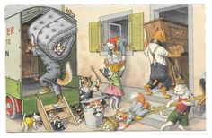 Cartão Postal Alfred Mainzer movendo Dia Gatos Max kunzli Zurique Postado 1955 # 4760 in Colecionáveis, Cartões postais, Animais | eBay