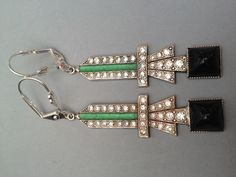 Art Deco rhinestone, enamel and onyx drop earrings