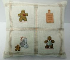 Gingerbread Cross Stitched Mini Pillow / by luvinstitchin4u, $20.95