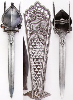 Indian katar, with prominent cobra, yali's (leogryphs) and fish, from Thanjavur (formerly Tanjore) in South India, 17th century, European blade, L. 21 3/4 in. (55.24 cm); W. 4 9/16 in. (11.6 cm); Wt. 27.5 oz. (779.6),Met Museum, Bequest of George C. Stone, 1935. #10