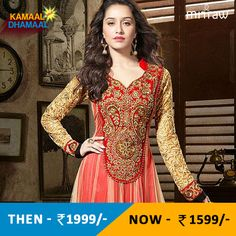 Red embroidered georgette semi-stitched salwar with dupatta.Shop Now- http://bit.ly/1QPk8Sk