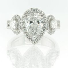 3.36ct Pear Shape Diamond Engagement Anniversary Ring