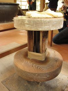 Kick-wheel. Good blog- see the long slab dish cut from a thrown shape.