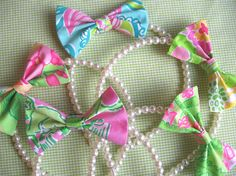 lilly bow and pearl headband. literally the most sorority accessory ever and i must have.