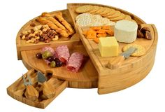 Buy Picnic at Ascot Patented Bamboo Cheese/Charcuterie Board with Cheese Knife Set & Cheese Markers- Stores as a Compact Wedge- Opens to Diameter- Designed & Quality Checked in USA Wooden Cheese Board, Cheese Platter Board, Cheese Board Set, Cheese Platters, Serving Platters, Serving Utensils, Bamboo Board, Bamboo Cutting Board, Wood Cutting