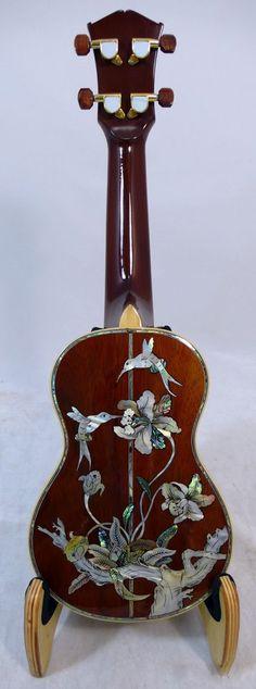Alulu Solid Hawaiian AA Curl Koa Soprano Ukulele inlaid Hummingbird