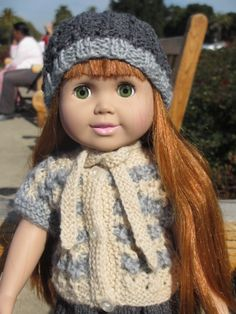 Lacy blouse and a hat for 18 inch doll