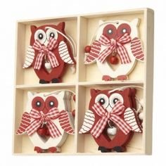 Heaven Sends Red and White Owl Hanging Christmas Decorations