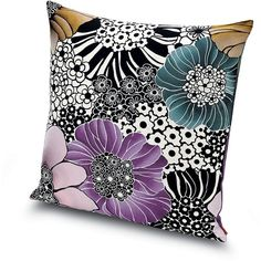 Missoni Home Sulawesi Cushion - 160 - 60x60cm (610 CAD) ❤ liked on Polyvore featuring home, home decor, throw pillows, multi, flower stems, floral throw pillows, multi colored throw pillows, black and white throw pillows e black and white accent pillows
