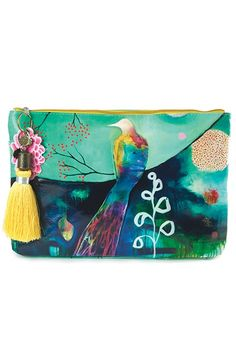 Flora Bird Large Accessory Pouch