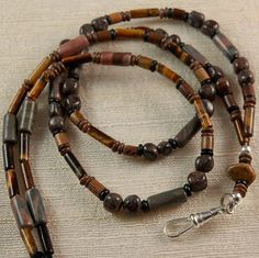 MENS BREAKAWAY BADGE HOLDER LANYARD made with SNOWFLAKE JASPER & TIGEREYE BH906 $27.90 Clip On Sunglasses, Beaded Lanyards, Necklace Holder, Beaded Necklaces, Badge Holders, Jasper, Jewelry Ideas, Bracelets, Projects