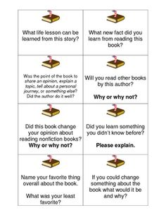Use these cards within a whole group discussion, small groups and/or with reading buddies to get students talking about their nonfiction book....