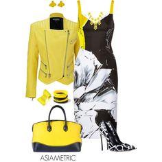 """Bright yellow, black and white dress"" by julyjess on Polyvore"