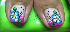 Pedicure Nail Designs, Manicure Y Pedicure, Toe Nail Designs, Flower Toe Designs, Spring Nails, Summer Nails, Cute Pedicures, Nail Designs Spring, Finger Painting