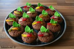 Leuke traktatie: chocoladecakejes waarbij een winegum-worm uit de aarde kruipt :)