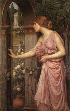 'Psyche Opening the Door to Cupid's Garden', 1904 by John William Waterhouse. Depicts another scene from the thwarted love story of Psyche and Cupid. ♡*⁀*✿PM