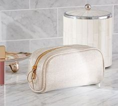 Shimmer Canvas Cosmetic Case #potterybarn