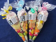 Personalised pre filled baby shower own scan 75g sweet cones/bag fillers/favours