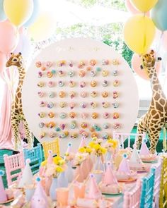 What kid would want there next birthday be a carnival theme? Donut walls have become such a big trend for any event 🍩💝 Circus Party Centerpieces, Circus Theme Party, Safari Birthday Party, Carnival Birthday Parties, Birthday Celebration, First Birthday Parties, Birthday Party Decorations, First Birthdays, 2nd Birthday
