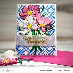 Altenew Cards, Embossed Paper, Jpg, Flower Cards, Creative Inspiration, Cosmos, Home Crafts, Favorite Color, Card Stock