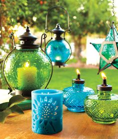 Totally regretting not buying some of these star lanterns when we lived in Mexico. and more hand blown glass. What was I thinking? Oh yeah, that we were poor! Star Lanterns, Candle Lanterns, Green Lanterns, Light My Fire, Candle Centerpieces, Mason Jar Lamp, Bottle Art, Outdoor Projects, Hand Blown Glass