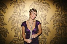 Bacall Royal Purple Custom Wedding Gown. With a feel of Old Hollywood and the vintage age of screen sirens like Lauren Bacall and Rita Hayworth,...