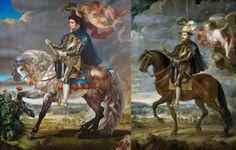 À gauche, Kehinde Wiley, Equestrian Portrait of King Philip II (Michael Jackson), 2010, oil on canvas, 128 x 112 inches © Kehinde Wiley. À droite, Pierre Paul Rubens, Felipe II on Horseback, oil on canvas, 251 x 237 cm