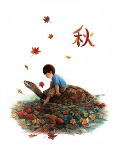 A curious boy sitting on a big turtle in autumn.  Illustration created by Mandy Wong. All right reserved.