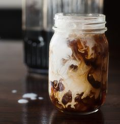 Cold brewed iced coffee with a dab of sweet surprise. Yum!
