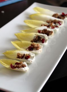 Endive, Goat Cheese, Walnut and Cranberry Appetizer
