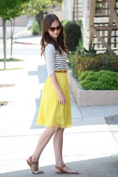 Ultra Gentle Temperament Type Double Silk Pleated Skirt In Goose Egg Yellow | Choies