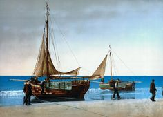 Painting around 1900 of some 'Pinken', (fishing vessels), laying on the beach. Scheveningen did not yet had a harbour at that time.