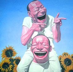 Yue Minjun Sunflowers Painting