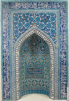 """A prayer niche from Iran, decorated with tiles in rich shades of blue and turquoise"".  The Metropolitan Museum of Art's Islamic art galleries are truly amazing. I miss not being able to visit The Met more often."