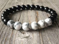 Men gemstone bracelet, stretch stacking beaded bracelet, Surf bracelet, health bracelet, men gemstone jewelery, men gift, nature bracelet door KennlyDesign op Etsy