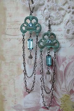 Romantic verdigris and vintage jewel chandelier by Purrrls on Etsy