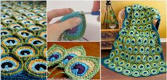 Crochet Peacock Applique, Motif
