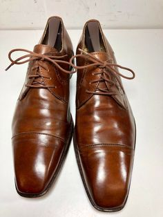 Mercanti Fiorentini Mens Brown Leather Cap Toe Oxfords Italy Size 9 D - Dress  Shoes Men f9a21f06f937