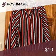 Better B blouse Red navy and white stripped button down blouse Necessary Clothing Tops Blouses